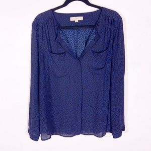 LOFT | blue leopard print blouse